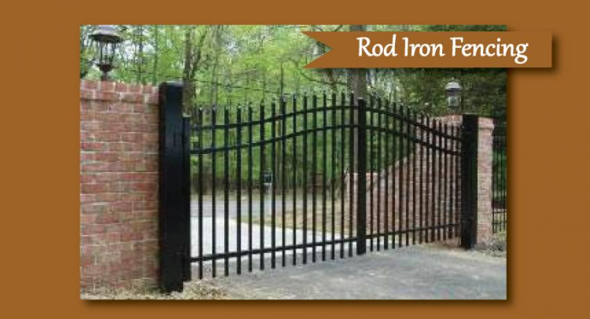 Decorative rod iron entrance fencing